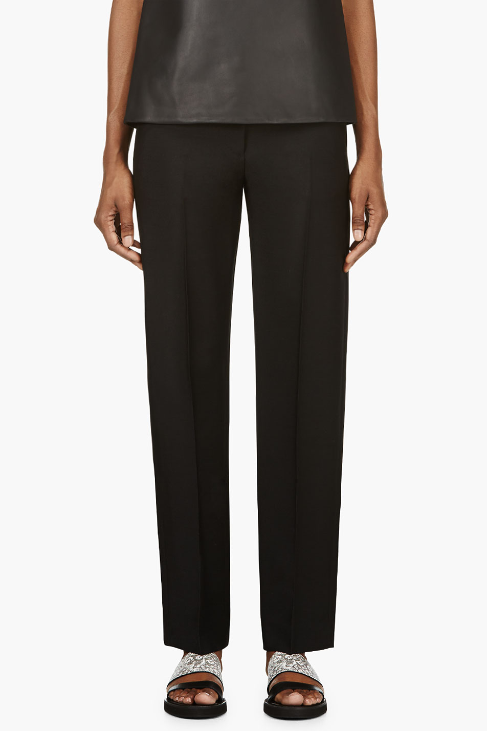 maison martin margiela black low waist pleated trousers