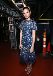 dress,gown,midi dress,gal gadot,vma,mtv,embellished,shoes,embroidered,embroidered dress,sandal heels,sandals