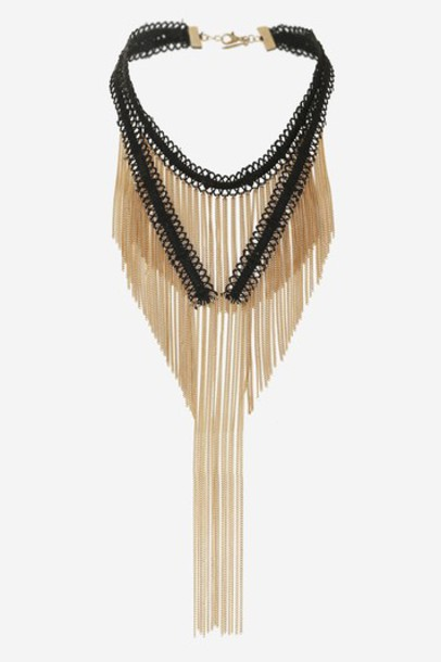 Topshop tassel necklace choker necklace black jewels