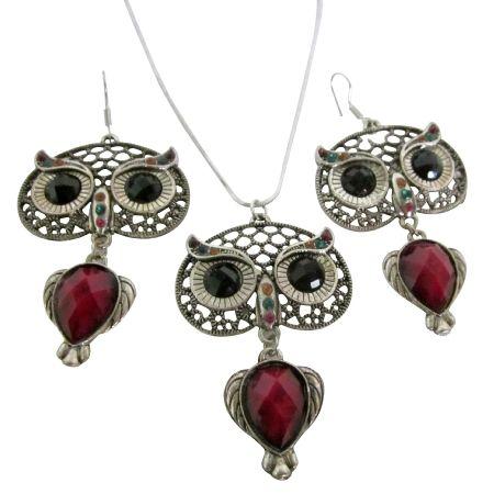 Owl nocturnal bird glowing eyes pendant earrings sign of wisdom jewelry