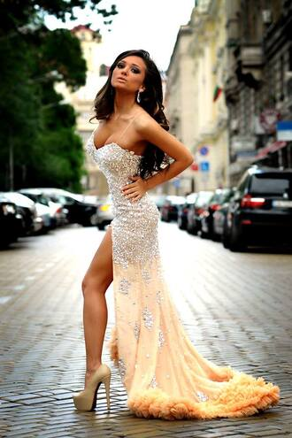 dress tan dress maxi sparkles sexy formal prom dress with slit rhinestone sequenced with tail