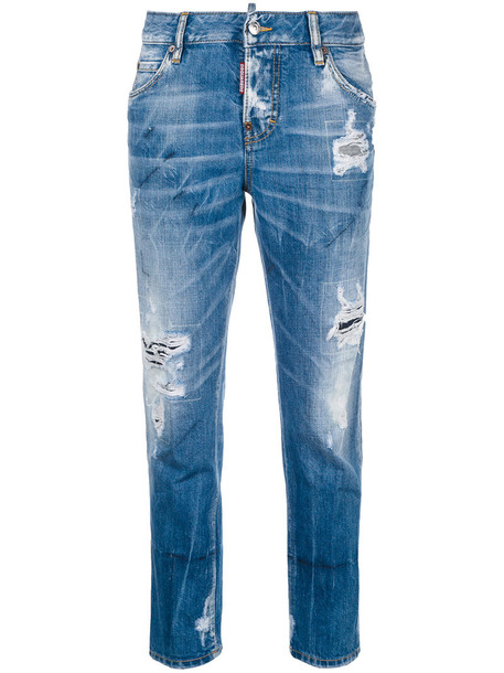 Dsquared2 jeans cropped jeans girl cool cropped women cotton blue