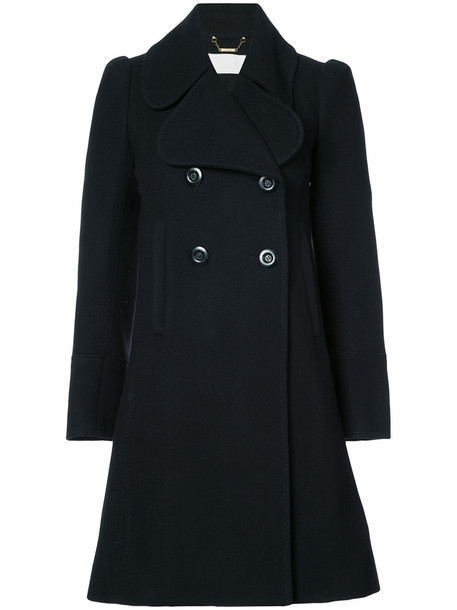 double breasted women black wool coat