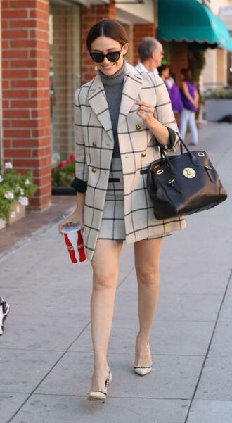 skirt jacket coat fall outfits two-piece emmy rossum shoes