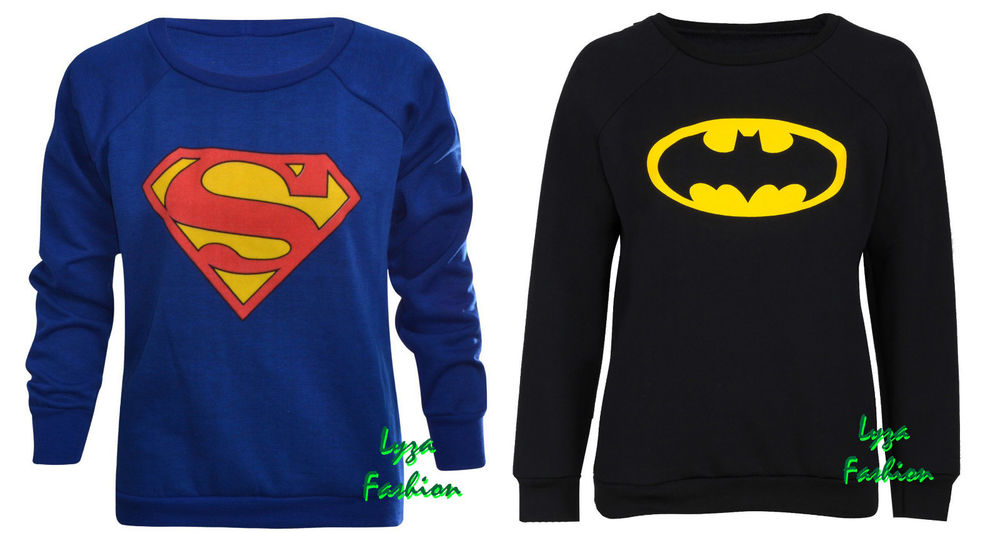 New women's ladies long sleeve superman batman logo pullover sweatshirt jumper