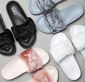 shoes,black,pink,white,silver,flip-flops,fur,fluffy,puma