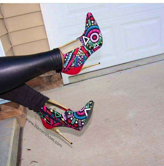 shoes high heels aztec pointed toe heels bootie rainbow