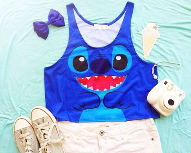 top shirt blue t-shirt stitch tank top lilo & stitch shirt