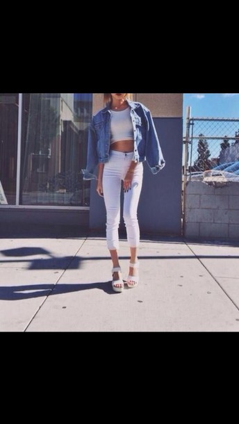 Jeans: white jeans, high waisted jeans, summer, sexy, jacket ...