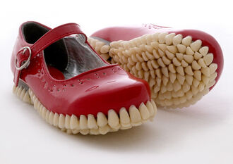 shoes creepy cool teeth tooth red red shoes cute disturbing