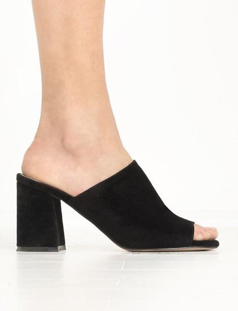 f15ae55fc50e shoes black suede mule heels black mules mules suede mules suede heels  heels black heels cute