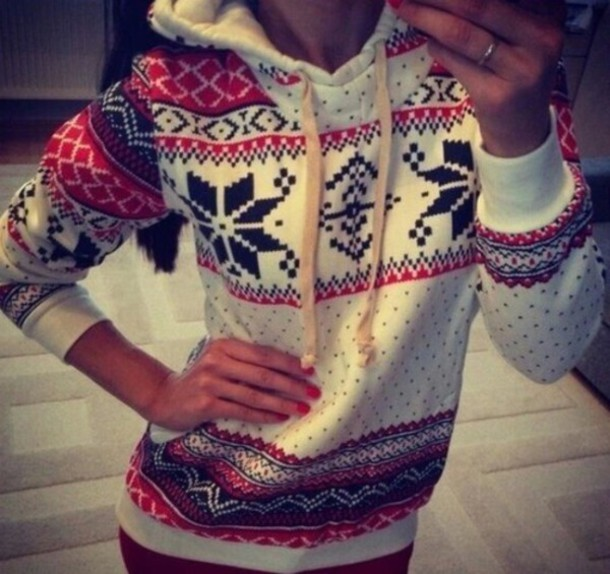 sweater snowflake sweater sweater weather red and black sweater hoodie red black & white pattern
