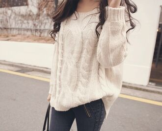 sweater clothes big off-white cute tumblr knitted sweater fall fashion oversized sweater ♥ white cute sweaters pants cream cable knit wool we heart it tumblr clothes pull blanc knitwear maille pullover jeans jumper cosy beige long warm cardigan knitted chaud loose waw cream knit sweater