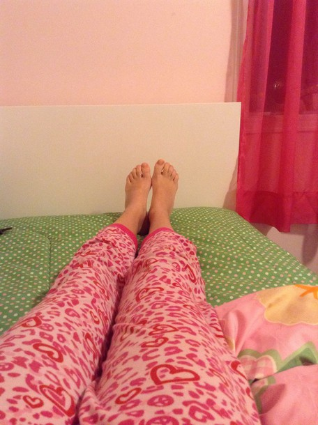 pajamas pink leopard print and hearts and peace sings