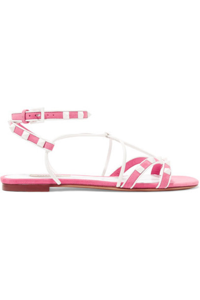 Valentino sandals leather suede pink shoes