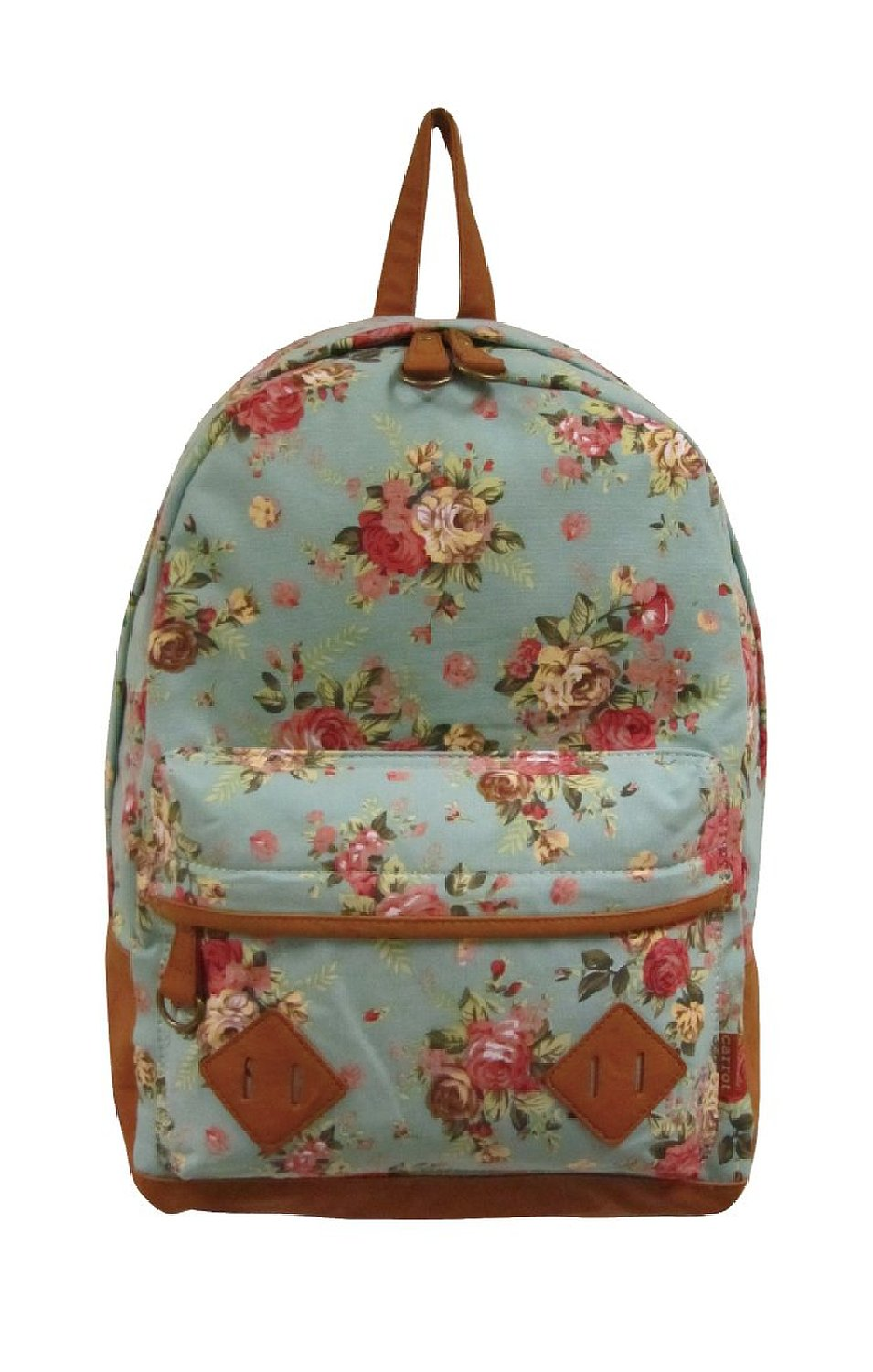 2102 flower printed canvas backpack (mint green): clothing