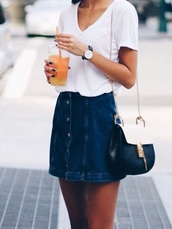 skirt,blue skirt,button up denim skirt,denim skirt,button up,denim,mini skirt,t-shirt,white t-shirt,daniel wellington,watch,chloe bag,bag,black bag,sunglasses,black sunglasses