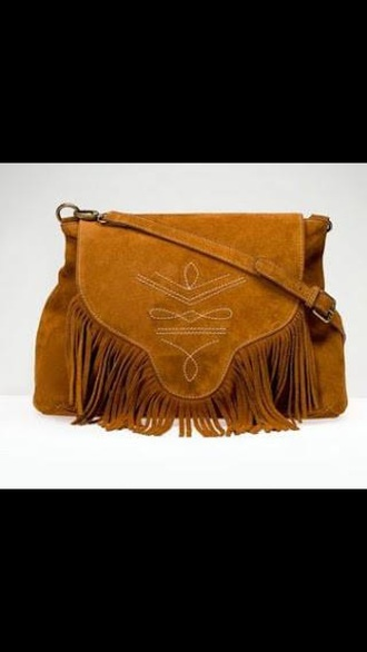 bag fringes suede brown camel boho bohemian hippie tribal pattern indian native nature chic fringed bag