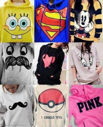 sweater spongebob superman mickey mouse heart sweater pokemon pink by victorias secret