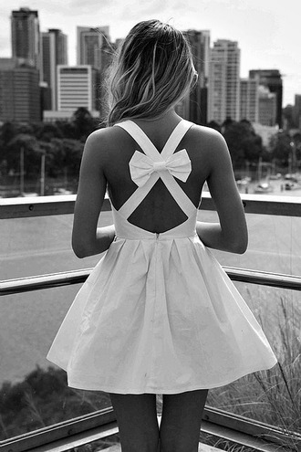 dress short dress bow back dress