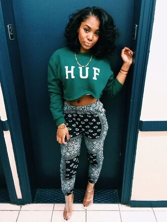 huf green sweater bandana pants sweater