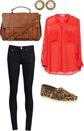 blouse,red,cute,bag,tote bag,toms,leopard print,jeans,blue,shoes,pants
