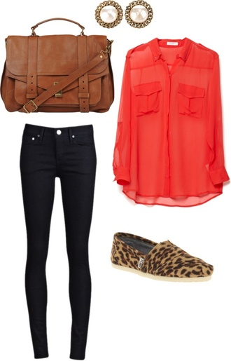 blouse red cute bag tote bag toms leopard print jeans blue shoes pants