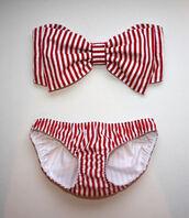 swimwear,red,stripes,bikini,big,bow,cute,lovely,summer