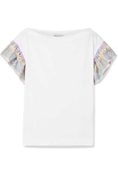 Emilio Pucci t-shirt shirt t-shirt white cotton silk top