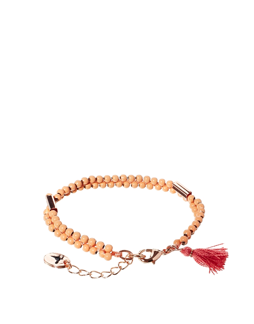 Jack Wills Pink Beaded Tassel Bracelet at asos.com