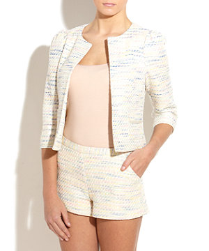 Cream pastel weave boucle jacket