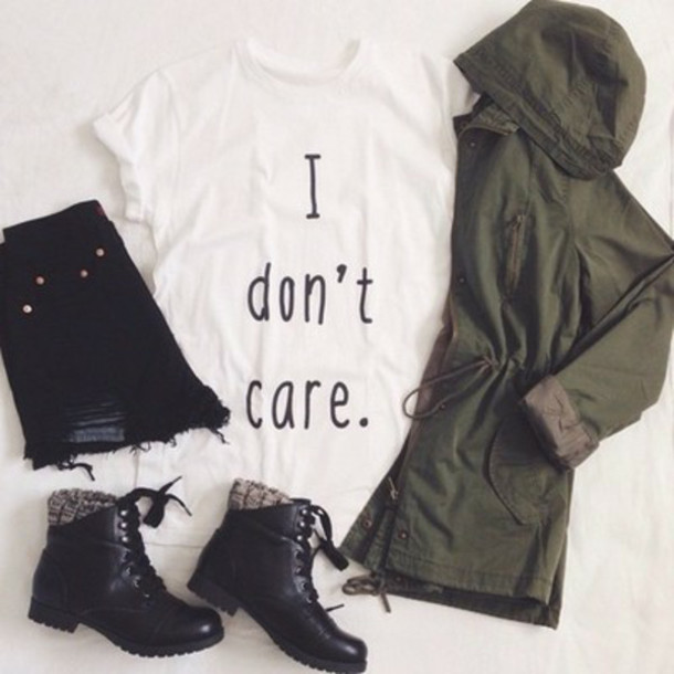blouse jacket t-shirt i dont care t-shirt top sassy graphic tee white t-shirt girl idontcaretop boots t-shirt army green cute fashion outfit shoes shorts coat
