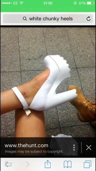 shoes white chunky white shoes chunky shoes wedges platform shoes heel indie