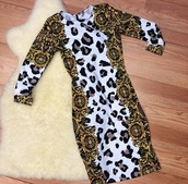 dress,leopard print,versace,long sleeve dress