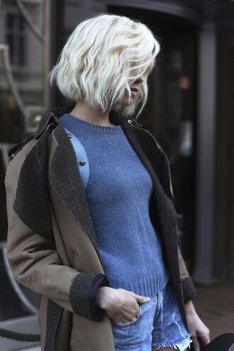 coat brown coat shearling jacket blue sweater college back to school short hair platinum hair distressed denim shorts