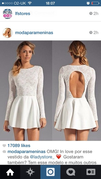 dress white dress lace prom dress open back white lace long sleeves