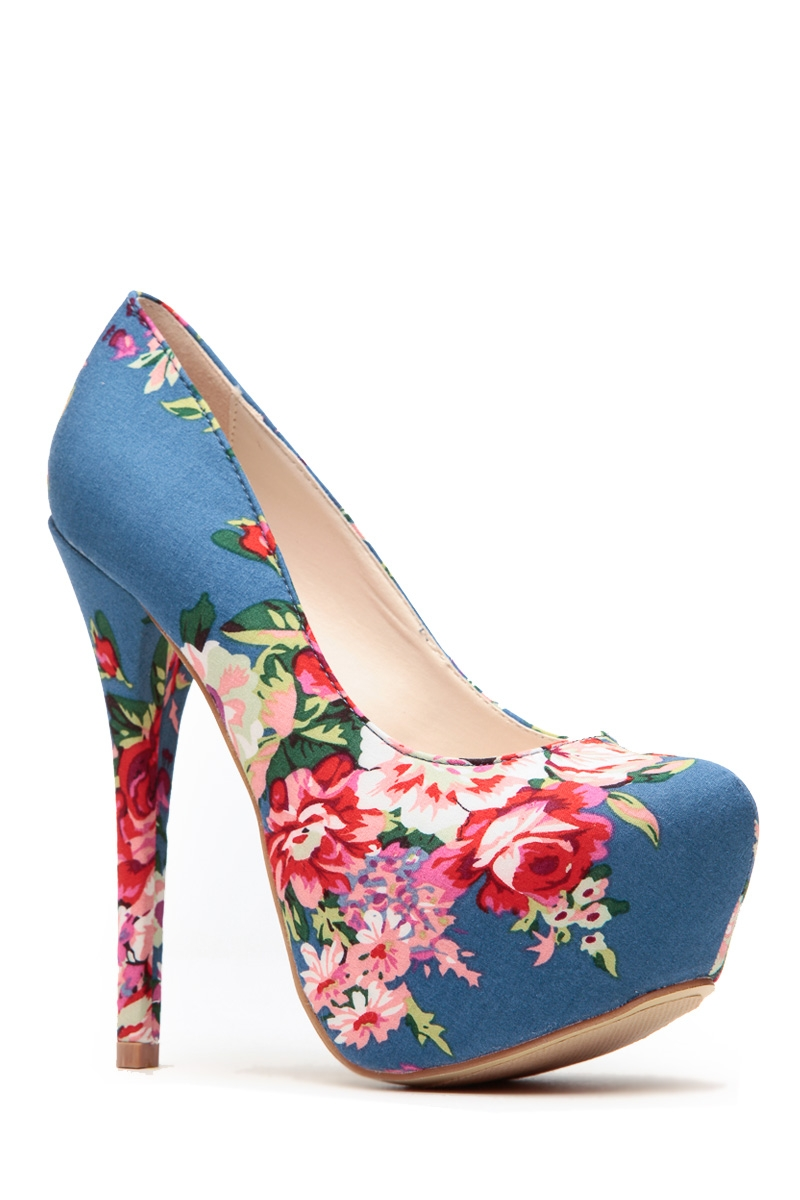 b7e8849215 Blue Floral Print Platform Pumps @ Cicihot Heel Shoes online store  sales:Stiletto Heel Shoes,High Heel ...