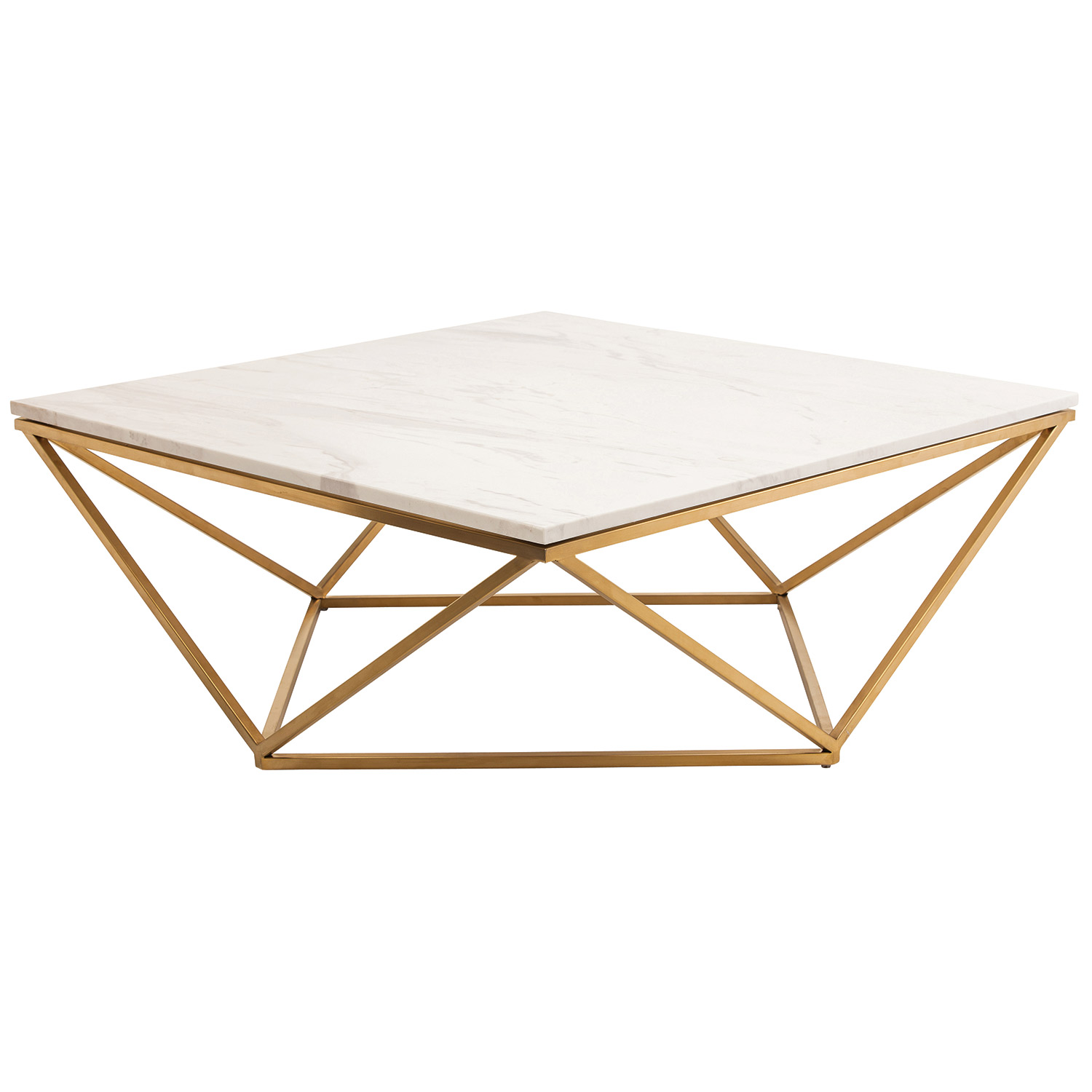 Nuevo Jasmine White Marble and Gold Stainless Coffee Table