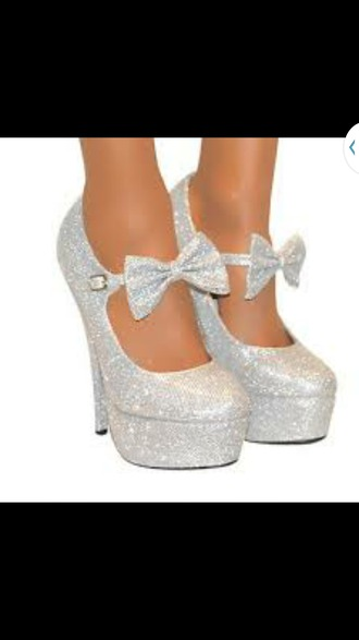 shoes silver heels bows glitter silver bow cute fashion