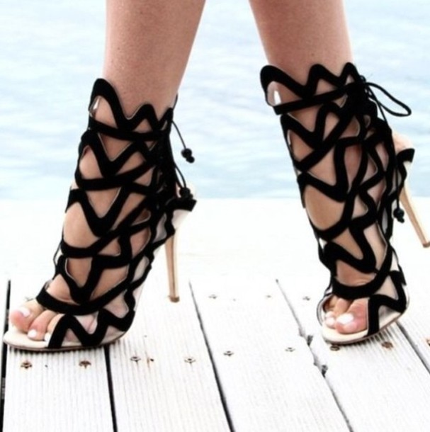 Shoes: gladiators, gladiators, black heels, high heels, black high ...