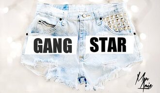 shorts denim shorts studded gangsta swag