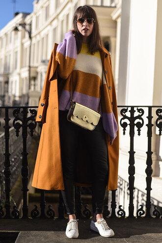 thank fifi blogger coat sweater leggings shoes bag winter outfits crossbody bag winter coat sneakers