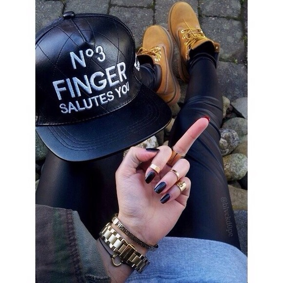 hat black cap leather n•3 finger salutes you pants shoes jewels