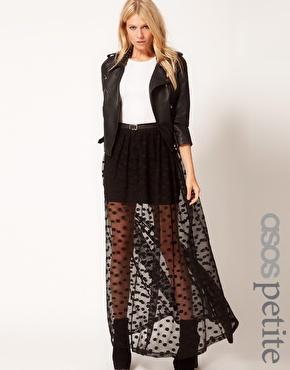 ASOS Petite | ASOS PETITE Spot Mesh Maxi Skirt at ASOS