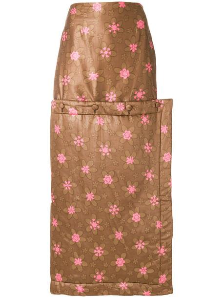 Eckhaus Latta - buttoned floral maxi skirt - women - Cotton/Polyester - S, Brown, Cotton/Polyester