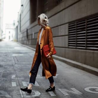 coat mustard coat tumblr mustard top white top pants black pants black shoes shoes flats loafers bag orange bag