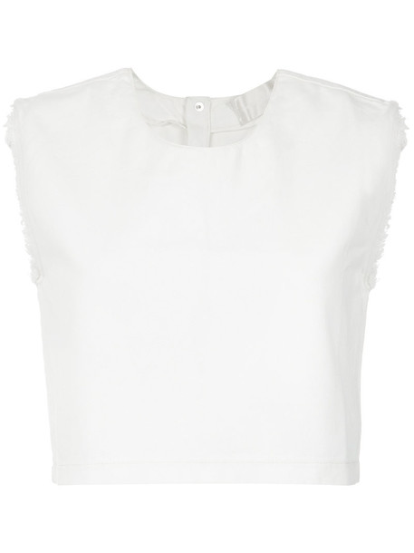 Lilly Sarti tank top top cropped tank top cropped women white cotton