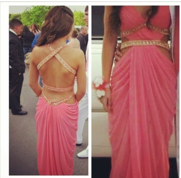 Dress: prom dress, pink, gold, pink dress, prom dress, backless ...