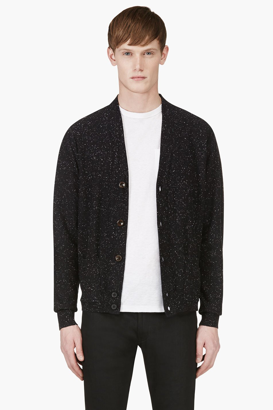 paul smith jeans black slub elbow patch cardigan