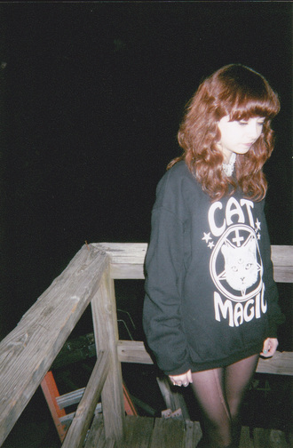 sweater crewneck cat magic cats magic black grunge satan pale pale grunge sweatshirt girl